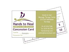 hands to heal massage therapy - concession cards
