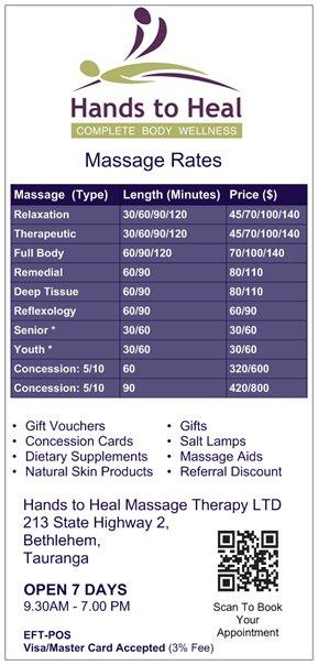 Hands to Heal Massage Therapy - Massage Rates