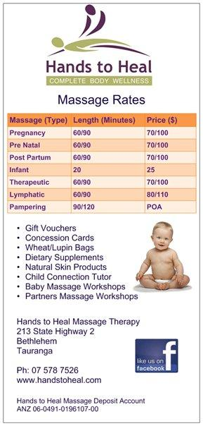 Hands to Heal Massage - Pregnancy Massage Rates